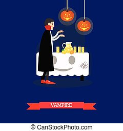 Vampire at halloween party. Happy holiday concept poster. Vector illustration in flat style design