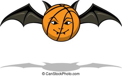 Vampire Basketball Bat - Basketball as a cartoon vampire bat...