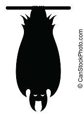 Vampire Bat Hanging Silhouette - Drawing Art of bat hanging...