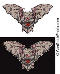 Vampire bat in flight.