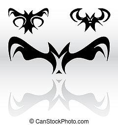 Vampire Bats Clipart - Three different original vampire bat...