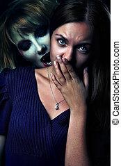 vampire bites scared girl - scary vampire biting a...