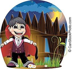 Vampire boy - Boy dressed as a vampire near wooden fence....