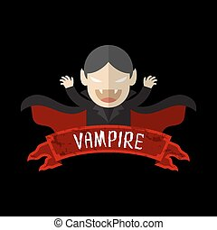 Vampire cartoon character design halloween with label name