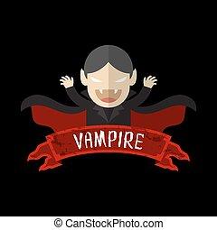 Vampire cartoon character design halloween with label name