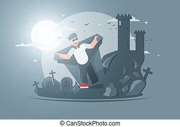 Vampire cartoon character. Ugly dead walk through cemetery. Vampire crawls out of the grave. illustration