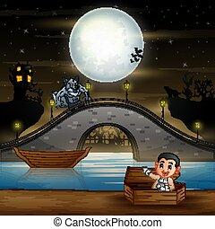 Vampire cartoon in halloween landscape