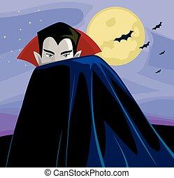 Illustration of a Vampire Hiding Behind His Vampire Cloak