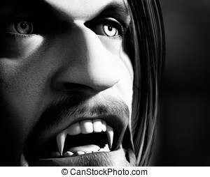 Vampire Closeup - Old movie style black and white male...