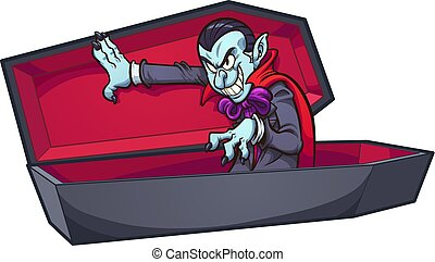 Vampire coffin - Vampire coming out of coffin. Vector clip...