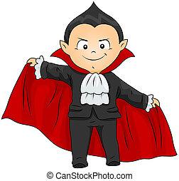 Vampire Costume - Illustration of a Boy in a Vampire Costume