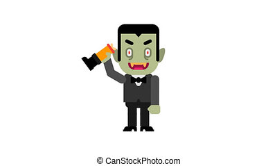 Vampire dancing and waves hand. Halloween character. Alpha...