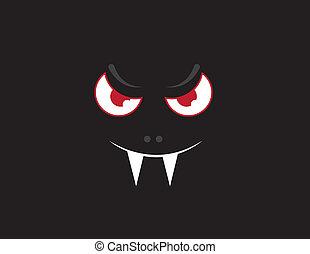 Floating vampire bat face in the dark