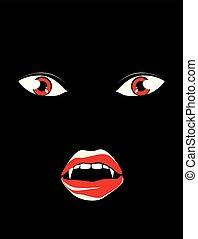 Vampire face in the dark