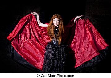 vampire, femme, manteau, rouges, terrible