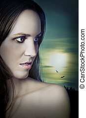 Vampire Girl in Moonlight - Beautiful vampire girl under the...