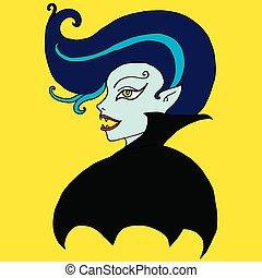 Vampire girl, isolated. Cartoon, fantasy face of a bloodsucker wi