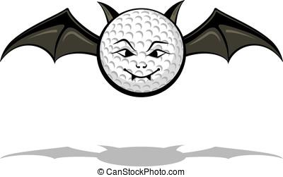 Vampire Golf Bat - Softball as a cartoon vampire bat for...
