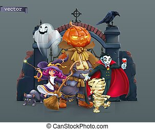 vampire., halloween., 插圖, 南瓜, 3d, 矢量, 稻草人, 媽咪, 巫婆, 愉快