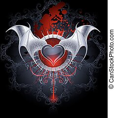Vampire Heart on a Black Background - black vampire's heart...