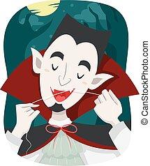 Vampire Hygiene Dental Floss - Illustration of a Vampire...