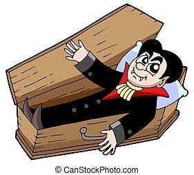 Vampire in coffin - isolated illustration.