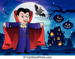 Vampire in Halloween illustration.