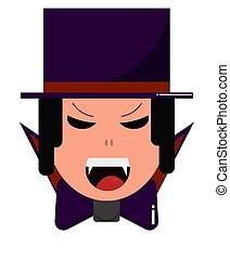 Vampire in hat. Cute cartoon character for Halloween, flat style.