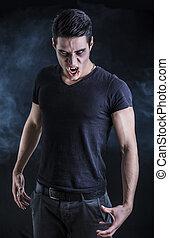 vampire, jeune, t-shirt, noir, portrait, homme