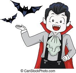 Vampire Kid Boy Familiar Bats Present - Illustration of a...