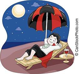 Vampire Kid Boy Moon Bathing Relax - Illustration of a...