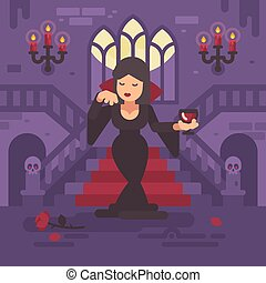 Vampire lady in a black dress with a glass of wine or blood standing in the moonlit hall of a gothic mansion in front of grand staircase. Trick or treat. Halloween night flat illustration