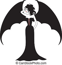 Vampire lady - Lady vampire with spread wings like a bat in...