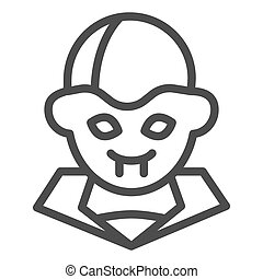 Vampire line icon. Night monster face, blood drinker. Halloween party vector design concept, outline style pictogram on white background.