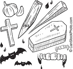 Vampire lore objects sketch - Doodle style vampire lore set...