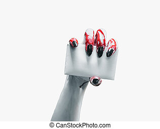 vampire, main, à, blanc, carte