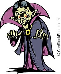 vampire man isolated on the white background