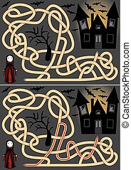 Vampire maze for kids with a solution