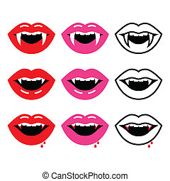 Vampire mouth, vampire teeth vector - Halloween vector icons...