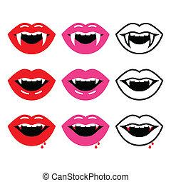 Vampire mouth, vampire teeth vector - Halloween vector icons...