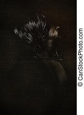 vampire, paranormal, homme, à, longs cheveux, et, manteau noir