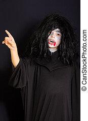 Vampire pointing forefinger