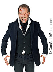vampire screaming - Male vampire with wounded face on white...