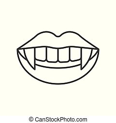 Vampire Coffin Halloween Related Hollow Outline Icon