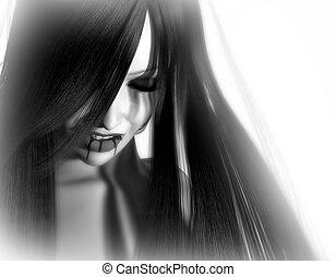vampire woman - 3d render of gothic type female