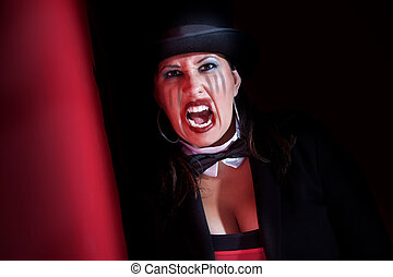 Vampire woman in top hat