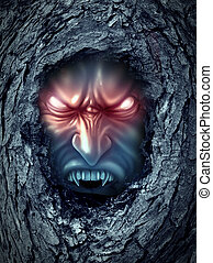 Vampire zombie ghost with glowing evil eyes living inside a dark old haunted tree trunk as a halloween symbol of bad horror spirits haunting the living world as a monster demon looking for blood.