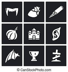 Vampires and means against them icons set. - Flat Icons...