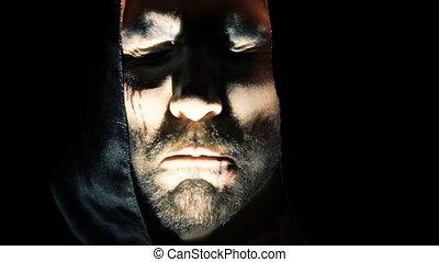 vampire's, face., crier, mal, effrayant