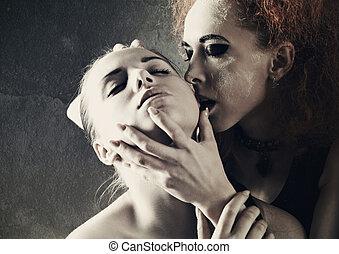 vampire's, kiss., fantasie, weibliche , porträt, gegen, dunkel, grungy, hintergruende